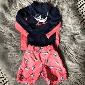 Janie and Jack Swim - Janie and Jack Nantucket Marlin Rashguard Trunks